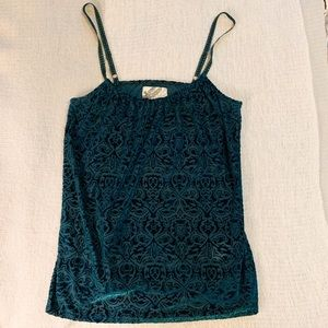 Lucky Brand Holly Hock Green Velvet Damask Tank